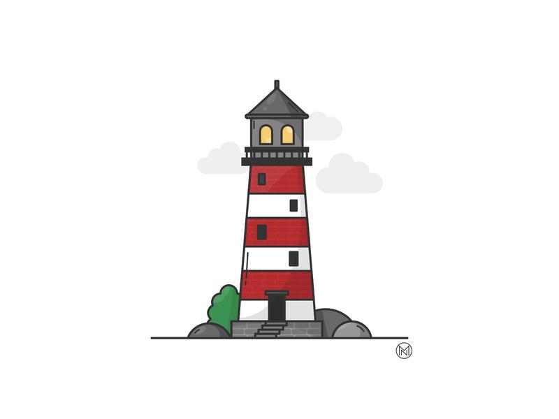 Light house affinity illustrator app bricks rock red sea web shapes cartoon illustration simple outline design webdesign vector building lighthouse logo light lighthouse