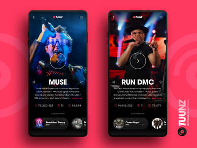 TUUNZ Artists musician music app player music ui design app
