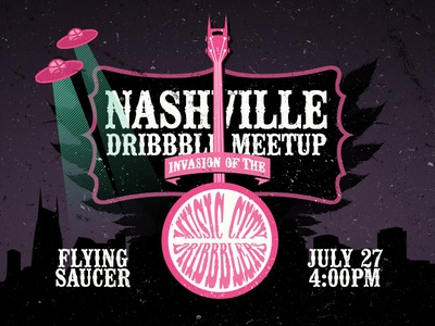 Invasion of the Music City Dribbblers meetup dribbble nashville music city flying saucer invasion alien disc banjo guitar strings