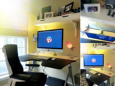 My Workspace workspace remote imac desk work monitor arm display herman miller