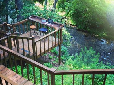 Summer Workspace workspace remote macbook summer outdoor stream nature foliage
