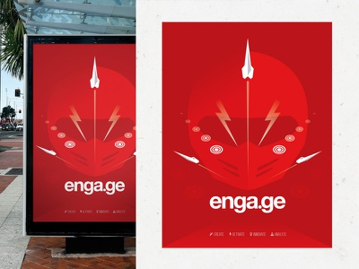Engage SXSW Poster sxsw poster helmet rocket lighting bolt red launch
