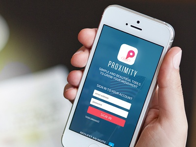Proximity • Login mobile responsive login form sign in product pink proximity web movement