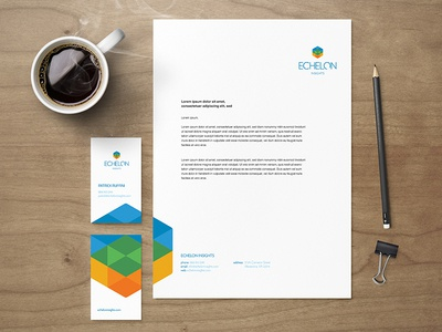 Echelon identity business cards letterhead logo identity echelon hexagon cube