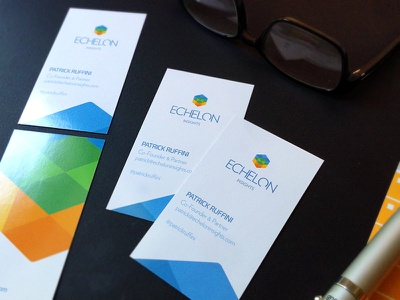 Echelon biz cards printed cube hexagon echelon identity logo letterhead cards business