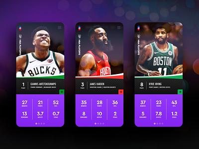 Playoff App stats team card cards ui bokeh cards basketball players ux ui web design web app playoffs nba