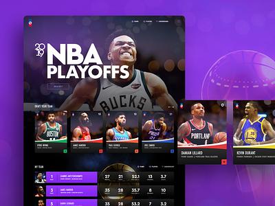 Playoff Website team statistics stats cards playoffs ux ui web design homepage website basketball nba