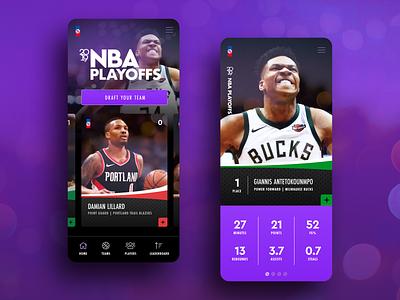 Playoffs Mobile ux ui app statistics stats cards basketball player playoffs nba mobile
