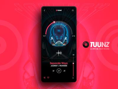 TUUNZ Music Player mobile ios volume design web ux ui app tunes player music