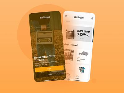 90 s Shoppers App 2 screens dribbble screens clean minimal ecommerce practice concept uiux ui design ui