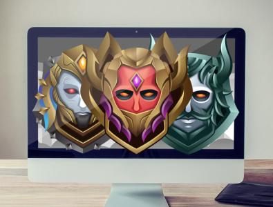 Warrior Rank Emblem Game Asset shield mask game symbol symbol game emblem game asset squad guild emblem rank warrior