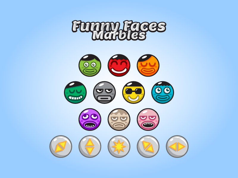 Game marbles - Funny Face Smilies bubbles marbles puzzles tetris game asset gamedev indie android game gui smilies smiley face