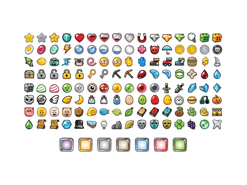 128 ingame items 7 frames for game dev by bevouliin
