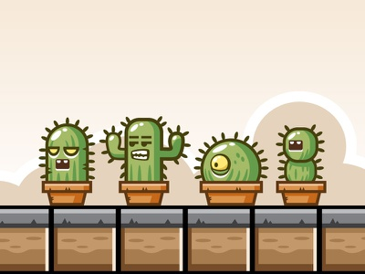 Game Obstacles - Angry Cactus sprite sheets enemy game character game ornament game obstacle game enemy game ornaments game obstacles game assets