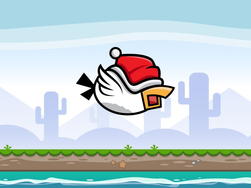 Flappy Bird With Santa Hat - Flying Game Character sheets sprite assets hat santa character game flying bird flappy