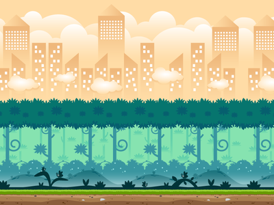 City And Forest Game Background