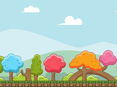 Colorful Forest Game Background tileable seamless horizontal asset background game nature tree forest colorful