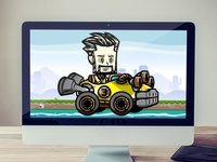 Bearded Man Racing Game Character Sprites