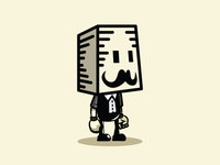 Box Head Game Character with Mustache