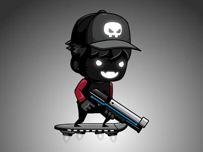 2D Game Asset - Shadow Shooter Boy indie game kid boy shooting shooter gunner gun hover skateboard limbo dark sprites asset game 2d game animation game character game sprites game asset
