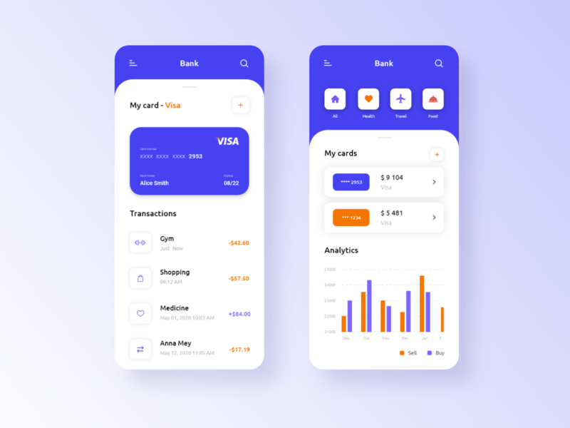 Mobile Bank - App Design (UI) pay cards ui card bank card banking app banking bank mobile ui mobile app mobile applicaiton app design flat art app ui ux typography icon design