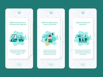 Onboarding Cards mobile app design green clean ui illustration flat design design app concept minimal branding color