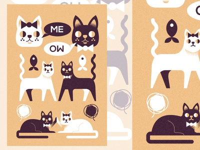 Me_oW poster (PSE '21) graphic design animals cats character illustration ill