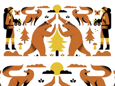 In the woods (PSE '21) animals character grain graphic design editorial illustration