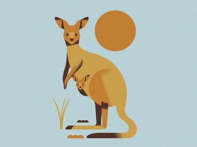 Kangaroos (PSE '21) animals character grain graphic design editorial illustration
