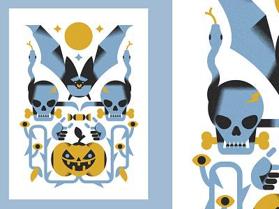 Hallo ween postcard nr.1 (PSE '21) postcard halloween animals character grain graphic design editorial illustration
