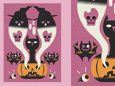 Hallo ween postcard nr.2 (PSE '21) design animals character grain graphic design editorial illustration