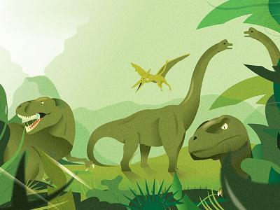 Dino double spread illo (GW '15)