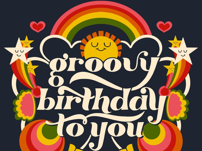 Groovy Birthday To You hand lettering typography roller skates stars retro vintage birthday rainbows 70s sunshine groovy