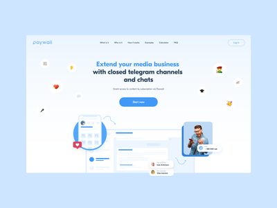 PayWall light theme illustration minimal main page landing homepage daily web webdesign landing page website