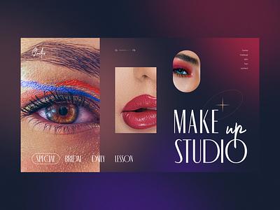 Make up studio concept design homepage daily web webdesign landing page website