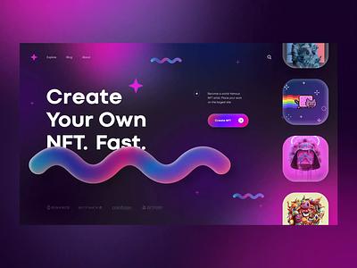 NFT Crypto Art Create Market web design homepage daily webdesign crypto ui landing page website