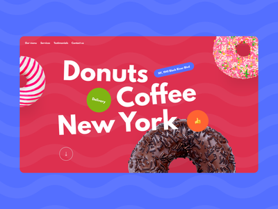 Donuts Coffee NY design concept coffee donuts sweet design homepage daily web webdesign landing page ui website