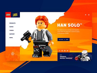 Lego concept Daily UI daily web ui han solo dream star wals orange website concept lego