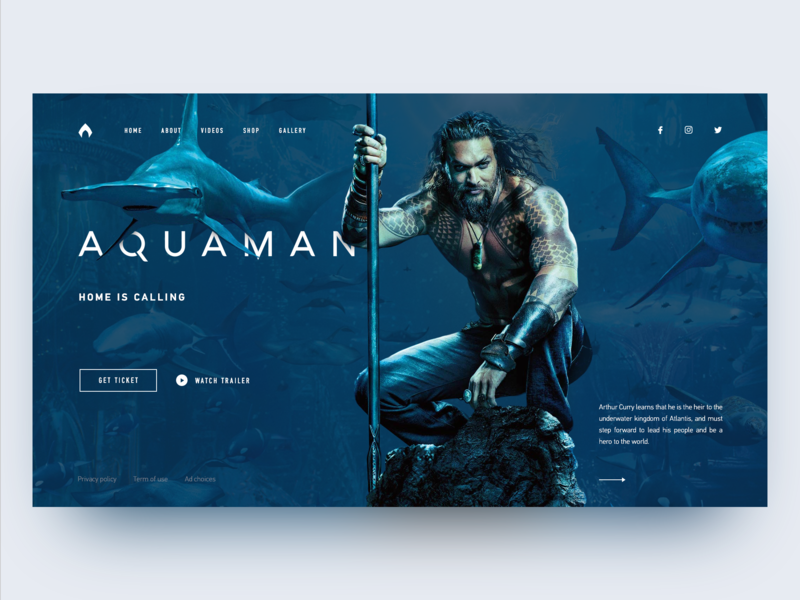 Aquaman Redesign Concept logo main page web design daily homepage marvel dc aqua ui landing page website
