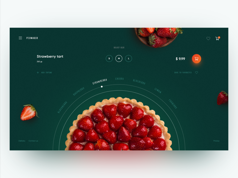 Piemaker Food Constructor Concept product cart pie creativity ux clean main page design homepage daily webdesign web ui landing page website