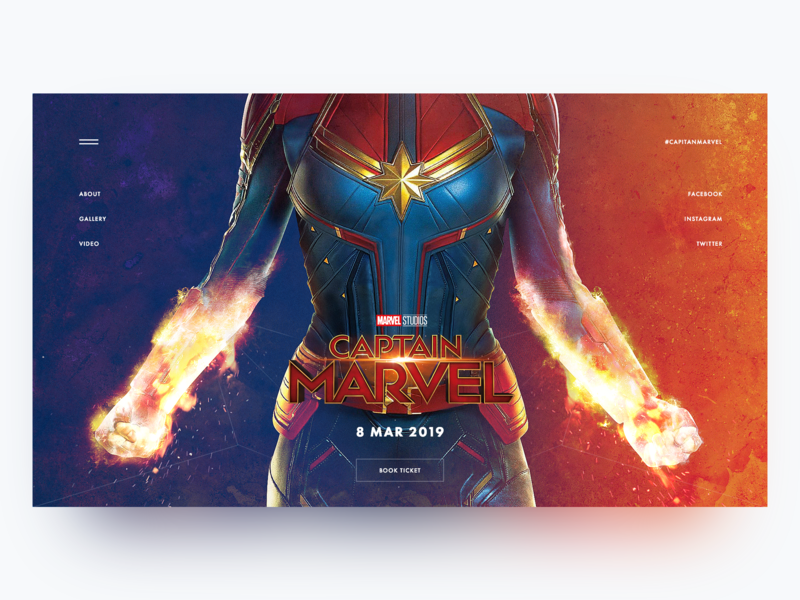 Captain Marvel Upcoming Movie Concept homepage illustration main page minimal landing creativity daily webdesign design marvel ui landing page website