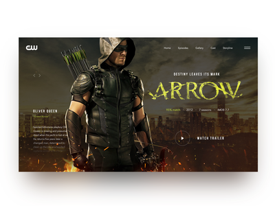 The CW Arrow TV Show Promo Page the cw arrow creativity landing main page tv show design homepage daily webdesign web ui landing page website