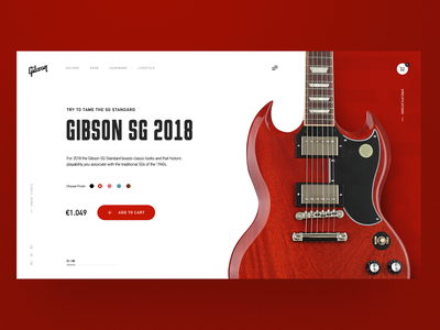Gibson SG Guitar Home Page Concept main page clean landing creativity homepage design ui daily webdesign web landing page website