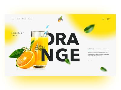 Orange Juice concept orange juice landing main page minimal creativity design daily homepage web webdesign landing page ui website