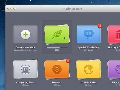 Flash Card Hero OS X UI osx mac app cards stacks