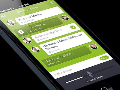 Shout App ios iphone conversation green voice