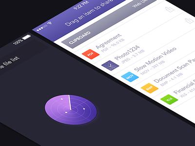 Instashare for iOS 7 instashare radar files list purple