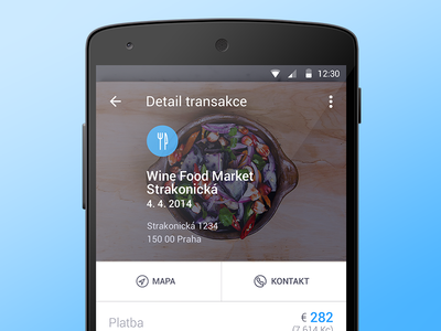 Transaction detail android material place transaction food pay