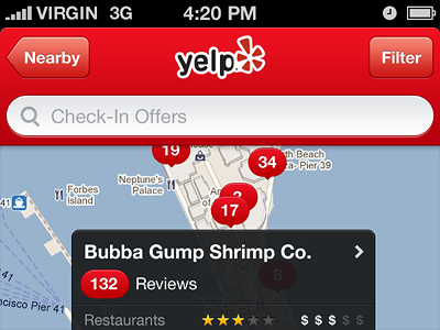 Yelp Redesign yelp ios app iphone red