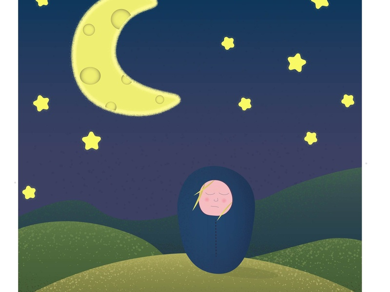 SILENT NIGHT. green love blue nature child starship girl stars tourism sleeping bag sky night